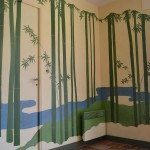 Trompe l'œil : bambous stylisés dans une cuisine