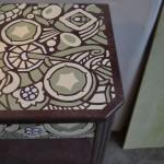 décor peint au pochoir et patine